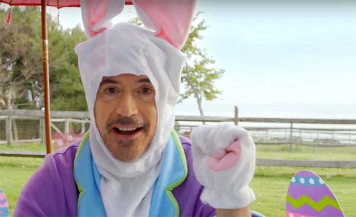 Robert Downey Jr. took a break from wearing his iconic Iron Man suit to dress up a bunny costume last Easter Sunday.
